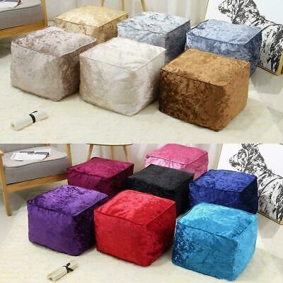 New Luxury Crushed Velvet Soft Bean Bag Cube Foot Stool Rest Pouffe Ottoman