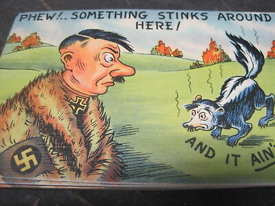 WWII World War II Satire Propaganda Comic Postcard Anti Nazi Hitler Linen UNUSED