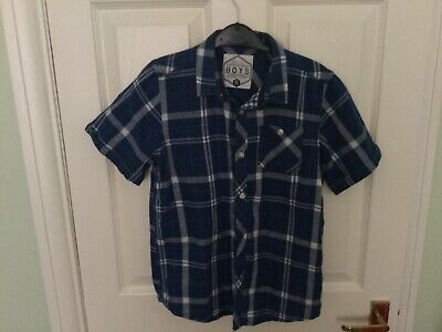 Boys Blue short sleeved checked shirt Aged 10 years VGC