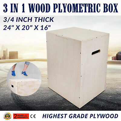 "3 in 1 Fitness 24""16""20"" Wood Plyometric Box for Jump Training Track 3/4 Thick"