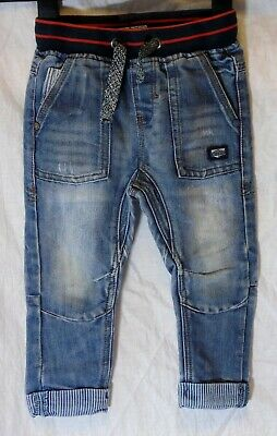 Baby Boys Next Blue Whiskered Denim Ribbed Waist Turn Ups Jeans Age 18-24 Months