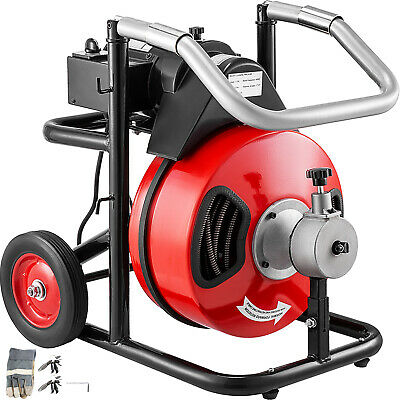 """100ft x 1/2"""" Drain Cleaner 550W Drain Pipe Snake Auger Cleaning Machine W/Cutter"""