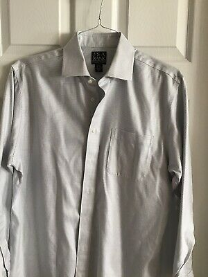 Men's Jos A Bank  Gray White Check Tailored Fit Dress Shirt, Size 16-34