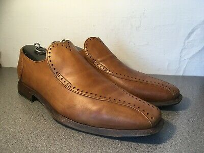Oliver Sweeney Slip-on TanLeather Brogue Loafers Size UK 10 Made in Italy