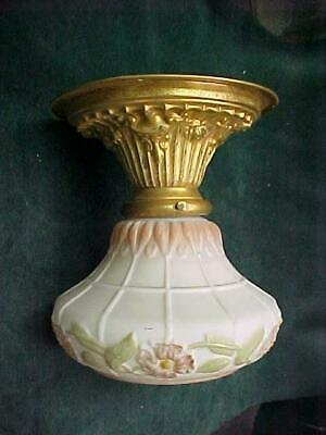 ANTIQUE 1900 1910's FANCY STAMPED BRASS FLORAL MILK GLASS CEILING LIGHT FIXTURE