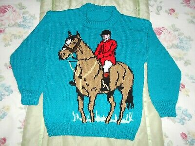 Boys new green hand knitted jumper with horse and rider on front age 7-8 years