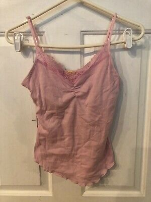Lemon Tart Women's Pink Lace Trimmed V-Neck  Sleeveless Top Size S Nwt