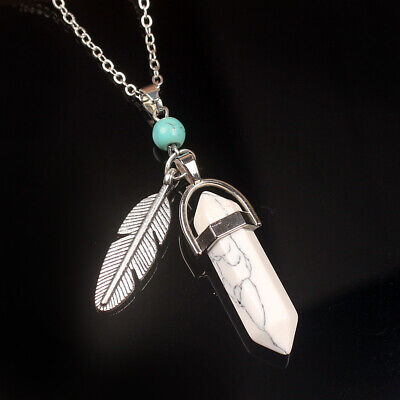 Howlite Turquoise Hexagonal Stone Necklace Feather Healing Natural Yogo Chain