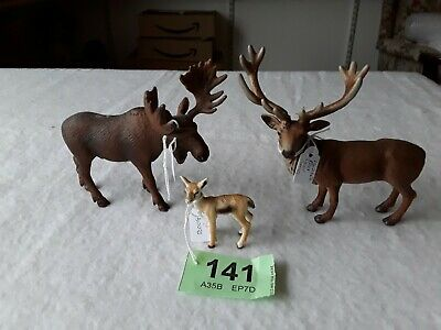 Schleich Wild Animals Red Deer Stag, A Moose And A Gazelle Fawn Lot 141