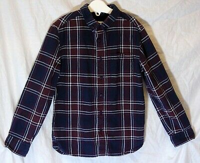 Boys River Island Maroon Red White Blue Check Long Sleeve Shirt Age 6 Years