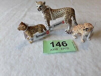 Schleich Wild Animals Cheetah Family All With Labels Lot 146