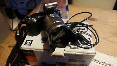 Sony NEX-5N 16.1MP Digital Camera Black with 2 Genuine Batteries, flash, 18-55mm