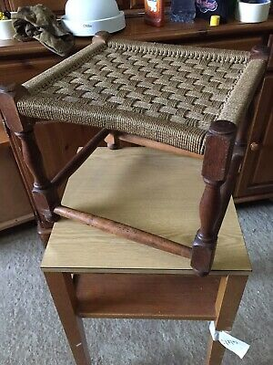 Vintage Traditional Fireside Stool String Weave Seat  4/2/T