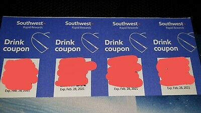 Four (4) Southwest Airlines Drink Coupons Exp 2/28/21 Beer Wine Liquor