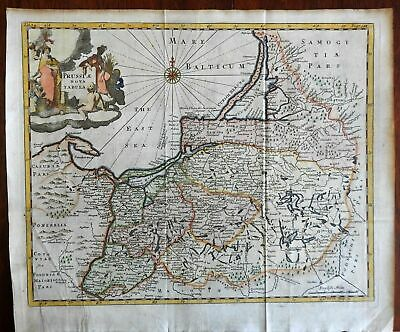 Eastern Prussia Germany coast East Sea 1711 Cluverius decorative engraved map