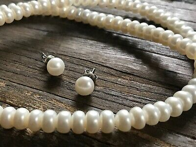 """18"""" Honora White Rondel Freshwater Cultured Pearl Necklace & Pearl Earrings!"""