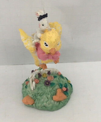 vintage ceramic Easter figurine flying chick peep with bunny spring decor