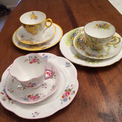 Shelley Bone China Trio Sets- Cup, Saucer, Salad Plate -Excellent