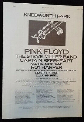 Knebworth Pink Floyd Miller Beefheart Etc Orig. Music Press Advert Poster 1975