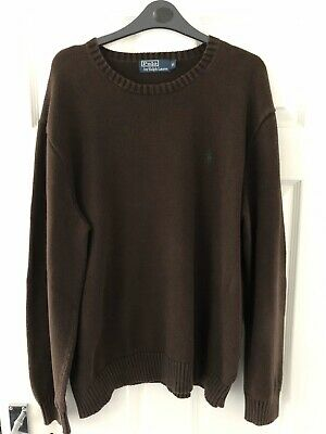 Polo By Ralph Lauren Men's Brown Crew Neck Jumper Chunky Knit Size XL