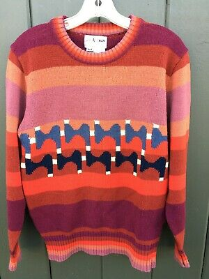 70's Vintage COLLAGEMAN Funky Groovy Multi-color Crew Sweater Men's M