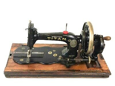 Antique Winselmann Titan Fiddle Base Hand Crank Sewing Machine [5892]