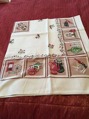 """Vintage  Kitchen Item Pattern Tablecloth (48 X 44"""") Very Probably 1940's.  Clean"""