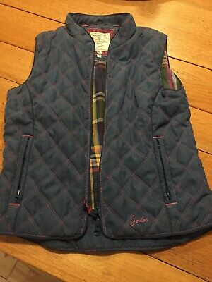 Girls Joules Gilet Bodywarmer Age 8 Quilted Blue/pink