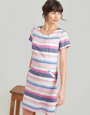 Joules Womens Henrietta Linen Shift Dress - BLUE MULTI STRIPE Size 12