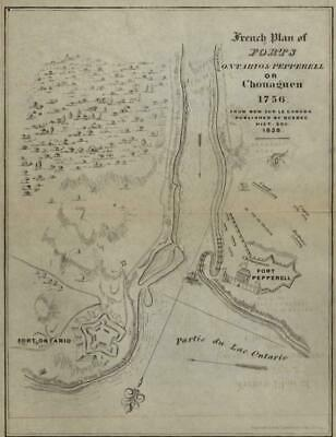 Oswego New York Fort Ontario Fort Pepperell 1849 lithographed historical map