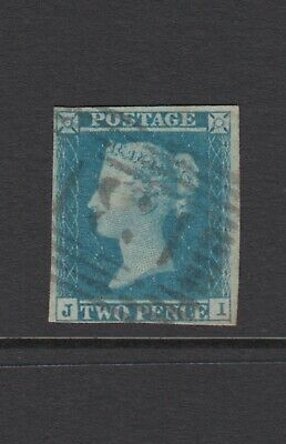 "GB QV 2d Blue SG14 Plate 3 Two Pence ""JI"" Used 1841 Stamp, 4 Margins"