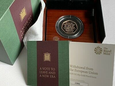 2020 Royal Mint Brexit Withdrawal From The EU Gold Proof 50p Coin Boxed & COA