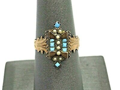Antique Victorian 14K Gold Turquoise & Seed Pearl Ring Size 8