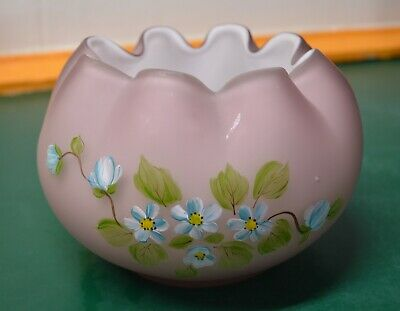 Fenton art glass Lavender Plum Cased Rose Bowl hand painted Artist signed