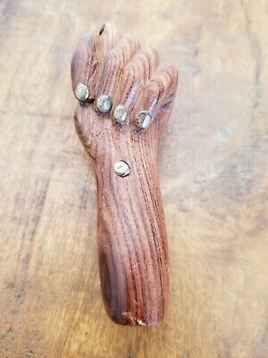 Vintage Hand Carved Wood Figa Sculpture Fist Good Luck Repel Evil Mid Century