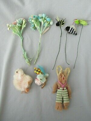 Vintage Easter Assortment Bunny Chicks Bees Bugs Flowers Group