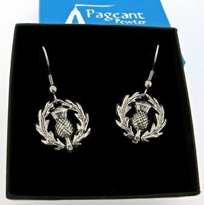 A Pair Of Scottish Thistle Silver Pewter Earrings