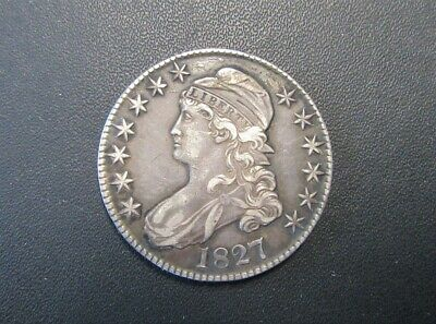 1827 50 Cent Capped Bust Half Dollar Silver Coin Very Good Condition See Photos