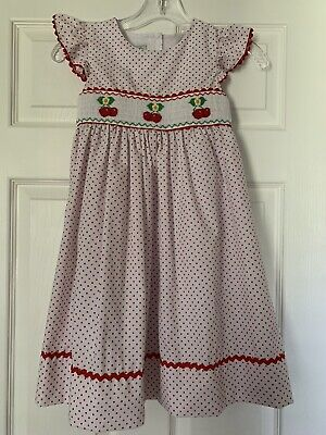 Girls Cute Smocked Red Polka Dot Dress By Marmellata- Size 6x