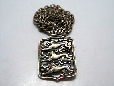 Vtg 830 Silver Denmark Coat of Arms Pendant or Brooch on Sterling silver Chain