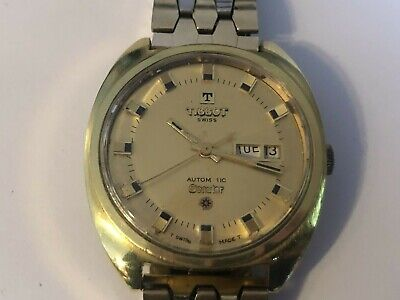 Vintage Tissot Seastar Automatic Watch -Day/Date 17J Nice Two-Tone Seiko Band