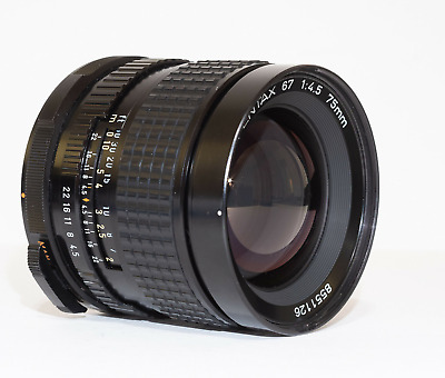 Pentax 67 6x7 75mm f/4.5 lens with caps -- Excellent