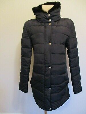 New Look Maternity Black Quilted Long Coat Mac Jacket Size 12