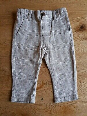 NEXT TROUSERS Baby Boys Light Grey Check Cotton 6-9 Months - VGC