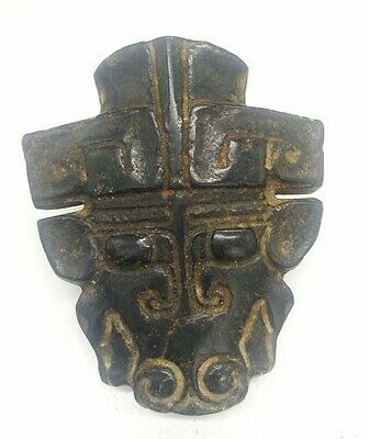 Hongshan culture Magnetic jade stone carved Person's face jade pendant A