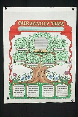 VTG Our Family Tree Blank Genealogy Chart 1978 Hand Painted Fabric Type Material