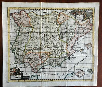 Iberia Spain Portugal Galicia Andalusia 1711 Cluverius decorative color map