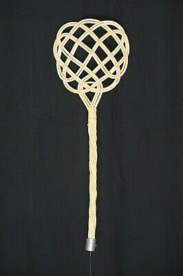 Old Antique Primitive Wooden Wicker Willow Rug Beater Carpet Swatter Rustic Farm