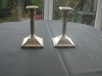 Very Good Pair of 19th C. Silver Plated Candlesticks by Walker & Hall circa 1860