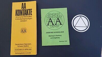Alcoholics Anonymous Aa 1979 And 1981 German Meeting Guide Pamphlet Sticker 4 99 Picclick